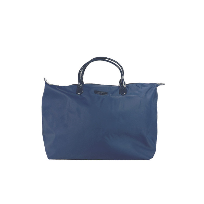 Lancaster Basic Verni Grand Sac Shopping et voyage 514-68 Bleu Fonce