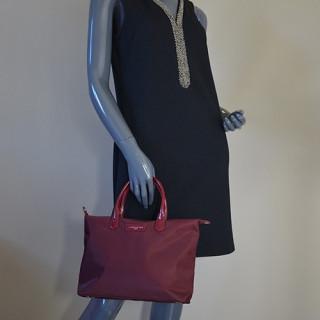 Lancaster Basic Verni Sac Shopping 514-66 Bordeaux porté main