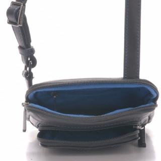 Arthur & Aston Chic & Casual Sac Porté travers Homme 1589-07 Noir fil Bleu  ouvert