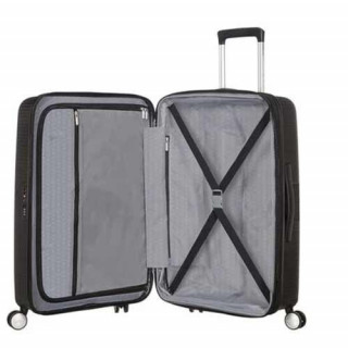 American Tourister Sound Box Spinner 67 cm Valise Trolley 4 Roues Black Bass ouvert