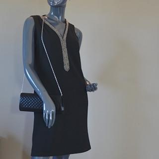Farfouillette Sac de Soirée Matelassé Noir porté
