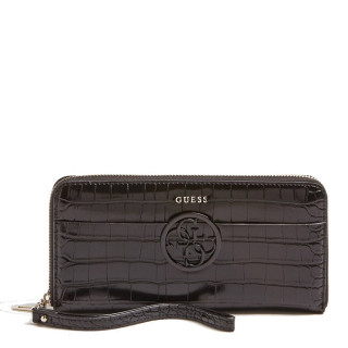 Guess Kamryn Compagnon Large Zip Around Black Croco