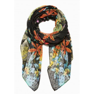 Desigual Foulard Rectangle Flower Negro