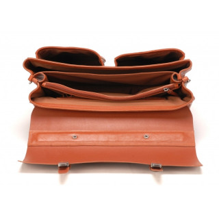 """Arthur & Aston Cartable 3 Compartiments PC 17"""" 1837-05 Cognac ouvert"""