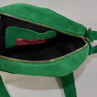 Farfouillette Pochette Ronde Cuir Green ouvert