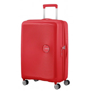 American Tourister Sound Box Spinner 67 cm Valise Trolley 4 Roues Coral Red