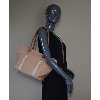 Lancaster Actual Zip Up Sac Cabas 517-67 Nude