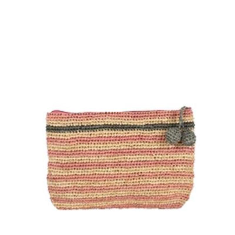 L'Atelier du Crochet Pochette Crochet Holi Rose Pale Gris