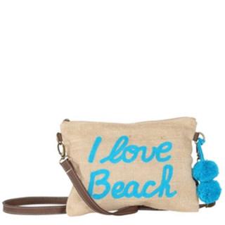 Le Voyage En Panier Tweet Sac Trotteur I Love Beach Aqua