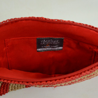 L'Atelier du Crochet Pochette Tacoa Rouge OUVERT