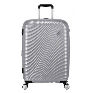 American Tourister Jet Glam 67cm Valise Moyenne Trolley 4 Roues Metallic Silver