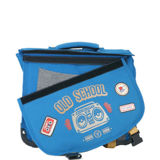 Pol Fox Cartable Reversible 35cm Old School Bleu et Gris