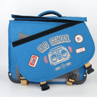 Pol Fox Cartable Reversible 38cm Old School Bleu et Gris