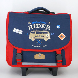 Pol Fox Cartable Trolley 38cm Rider Bleu et Rouge face