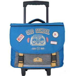 Pol Fox Cartable Trolley Reversible 38cm Old School Bleu et Gris