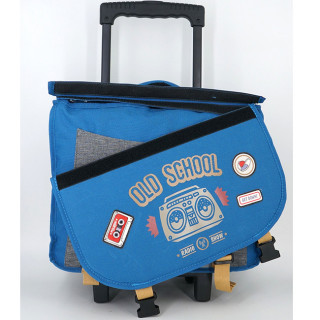 Pol Fox Cartable Trolley Reversible 38cm Old School Bleu et Gris face 1