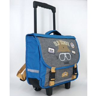 Pol Fox Cartable Trolley Reversible 38cm Old School Bleu et Gris cote