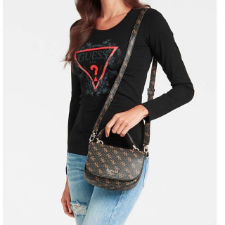 Guess Logo Rock Sac Bandoulière 4G Brown porté