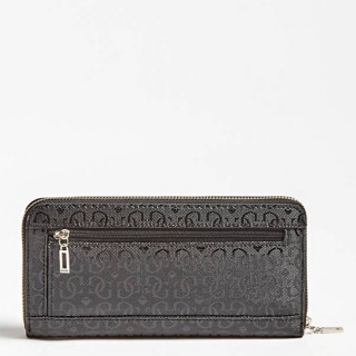 Guess Open Road Logo Compagnon Large Zip Around Black DOS