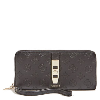 Guess Peony Classic Logo Compagnon Large Zip Around Black