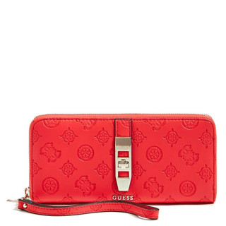 Guess Peony Classic Logo Compagnon Large Zip Around Poppy