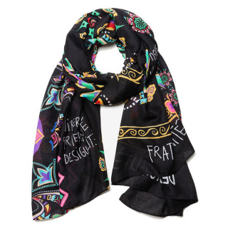 foulard desigual noir fleurs