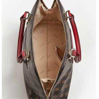 Guess Aline Petit Sac A Main Dome Brown Multi OUVERT