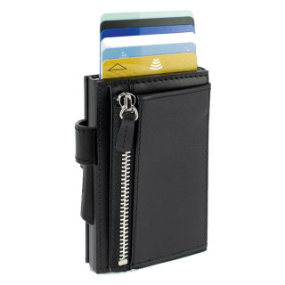 Ogon Porte Carte Cascade Zipper Full Black