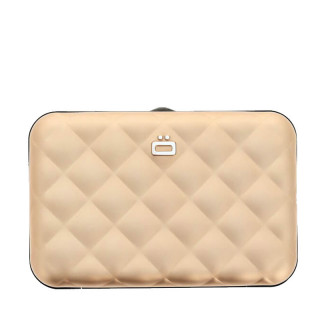 Ogon Quilted Button Porte Cartes Rose Gold