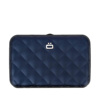 Ogon Quilted Button Porte Cartes Navy Blue