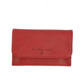 Portefeuille femme cuir rouge