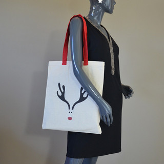 Farfouillette Tote Bag de Noël Sac fourre-tout Cornes de Rêne Naturel
