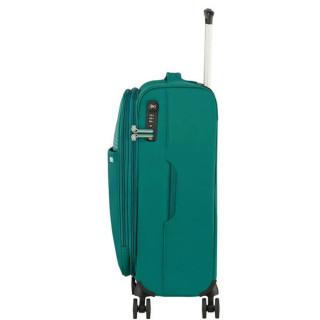 American Tourister Lite Ray 55 cm Valise Cabine Trolley 4 Roues Extensible Forest Green profil