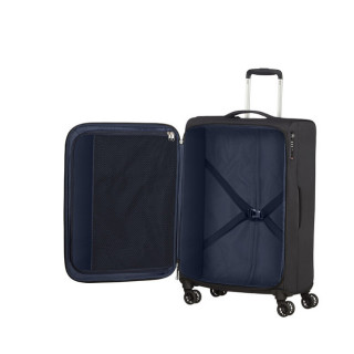 American Tourister Lite Ray 69 cm Valise Trolley 4 Roues Jet Black ouvert