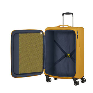 American Tourister Lite Ray 69 cm Valise Trolley 4 Roues Golden Yellow ouvert