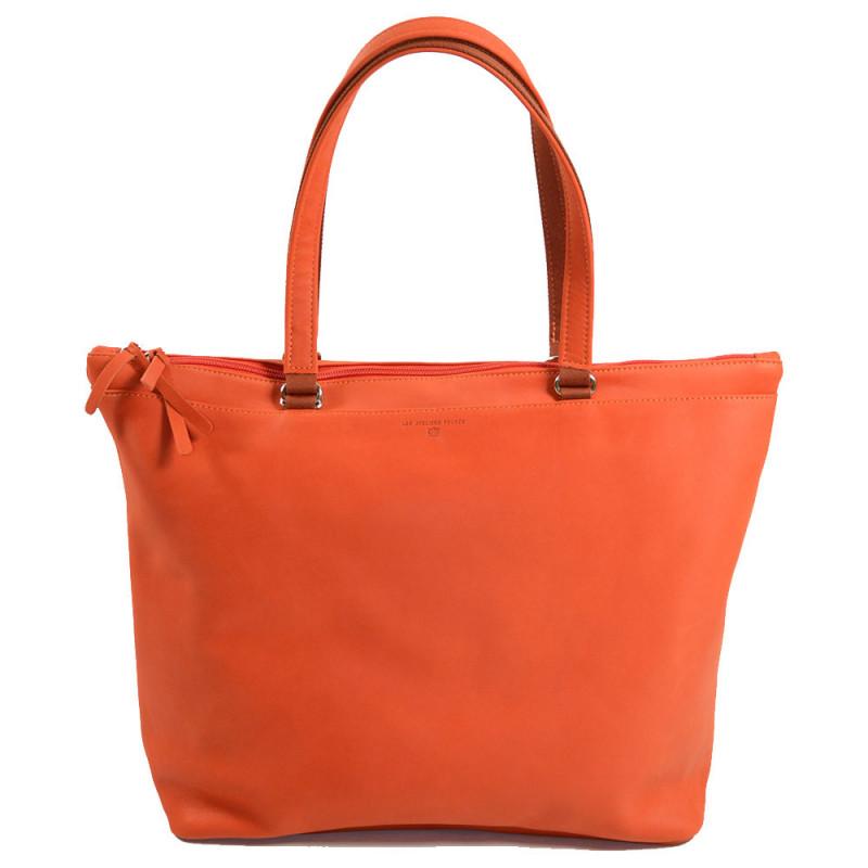 sac shopping femme en cuir couleur orange