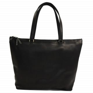 sac shopping noir en cuir pour femme