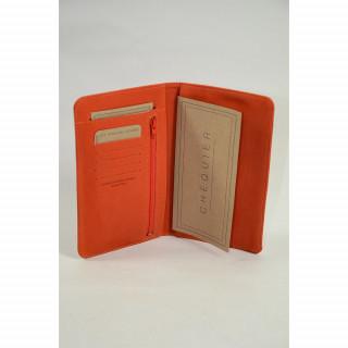 Porte chéquier en cuir pour femme couleur orange