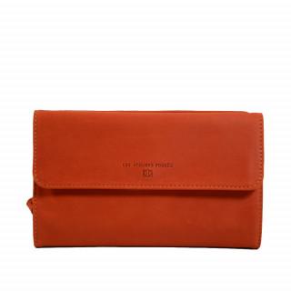 Portefeuille femme en cuir orange