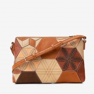 sac porté travers femme motif patch camel