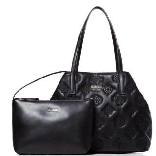 Guess Vikky Sac Shopping et Pochette 2 en 1 Logo Brodé Black