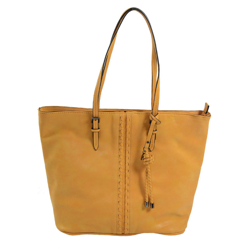 sac shopping femme moutarde
