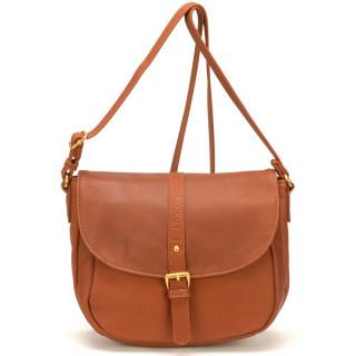 sac femme cuir cognac porté épaule