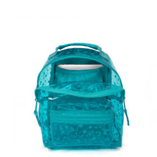Eastpak Orbit Sac à Dos XS Transparent Crystal a70 Splash Lagoon ouvert
