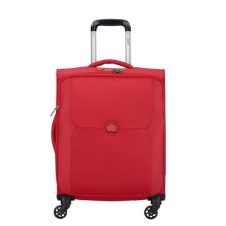 Delsey Valise Cabine Slim Extensible Trolley 4 Double Roues 55 CM Rouge
