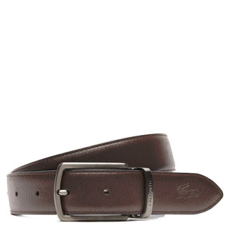 Lacoste Men's Classic Coffret Ceinture Réversible Cuir 2 Boucles Black Dark Brown