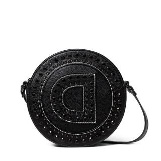 Desigual Girl Sac Rond Logo et Clous Noir