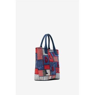 Desigual Nerima Sac Shopping 2 en 1 Patchwork et Broderie Medieval Blue