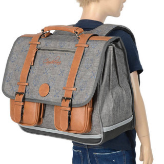 Caméléon Vintage Print Boy Cartable 41cm Grey Wolf