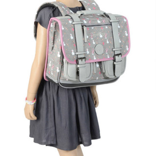 Caméléon Vintage Print Girl Cartable 35cm Grey Lama